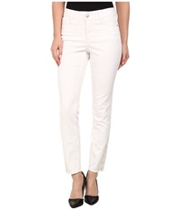 Nydj Amira Fitted Ankle W Embellished Hem In Optic White Optic White Women's Jeans