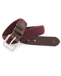 Hackett Dual Fabric Burgundy Cord Brown Leather Belt