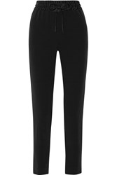 Dkny Satin Trimmed Crepe Tapered Pants Black