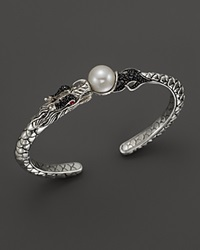 John Hardy Naga Sterling Silver Lava Small Cuff With Cultured Freshwater Pearl Black Sapphire And African Ruby Eyes