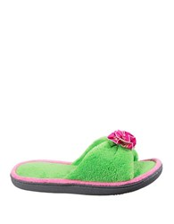 Isotoner Cabanas Micro Terry Slide Slipper Jasmine Green
