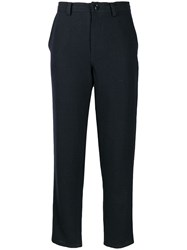 Y's Cropped Slim Fit Trousers Blue