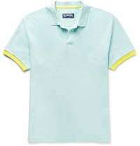 Vilebrequin Palatin Contrast Tipped Cotton Pique Polo Shirt Mint