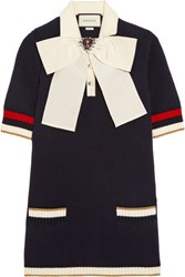Gucci Pussy Bow Knitted Cotton Blend Tunic Navy