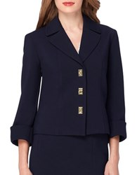 Tahari By Arthur S. Levine Petite Traditional Fit Notched Collar Jacket Navy