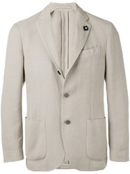 Lardini Soft Blazer Men Cotton Polyester Viscose 50 Nude Neutrals