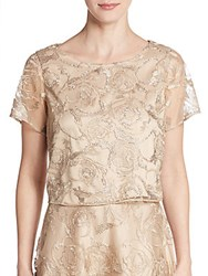 Kay Unger Sequin Embroidered Cropped Top Tan