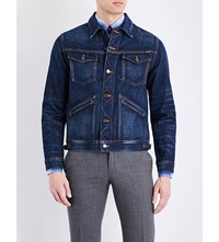 Tom Ford Buttoned Cuff Branded Denim Jacket Washed Blue