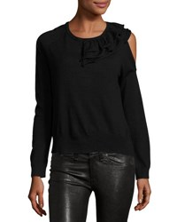 Neiman Marcus Cold Shoulder Ruffle Collar Sweater Black