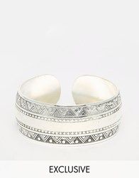 Reclaimed Vintage Pattern Bangle Silver