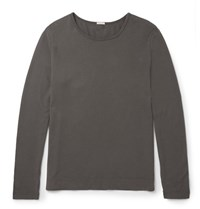 Massimo Alba Slim Fit Cotton And Cashmere Blend T Shirt Charcoal
