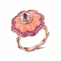 James Ganh Ring Pendant Coral Pink Purple
