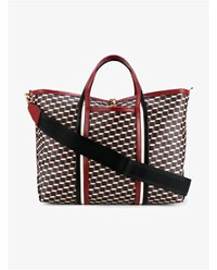 Pierre Hardy Cube Print Leather Tote Red Black Off White