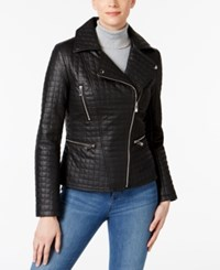Inc International Concepts Quilted Faux Leather Moto Jacket Only At Macy's Black