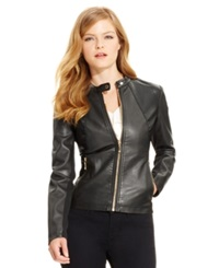 Ivanka Trump Faux Leather Moto Jacket Black
