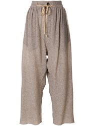 Vivienne Westwood Cropped Wide Leg Trousers Polyamide Virgin Wool M Nude Neutrals