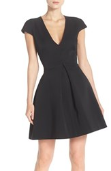 Women's Halston Heritage Cutout Back V Neck Fit And Flare Dress