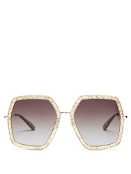 Gucci Oversized Hexagon Frame Sunglasses Gold