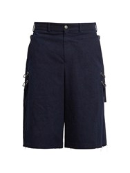 Damir Doma Poel Oversized Long Cotton Shorts Indigo