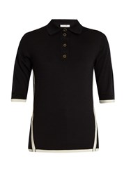 Lanvin Bi Colour Wool Polo Shirt Black