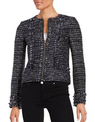 Karl Lagerfeld Tweed Zip Front Blazer Navy