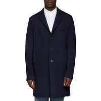 Harris Wharf London Navy Boxy 3 Button Felt Coat Blue