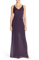 Women's Rory Beca 'Harlow' Belted Silk Georgette Deep V Back Gown Eggplant