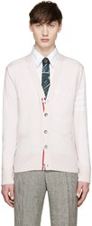Thom Browne Pink Merino Striped Armband Cardigan