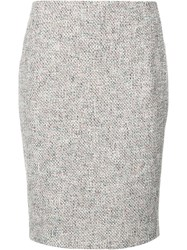Akris Punto Patterned Pencil Skirt Red