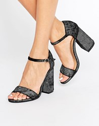 Glamorous Flare Heeled Sandals Black Bronze