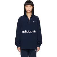 Adidas Originals Navy Logo Fleece Pullover