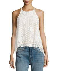 Few Moda Let It Swing Crochet Tank Blouse White