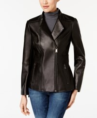 Anne Klein Asymmetrical Leather Jacket Black