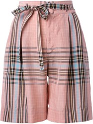 Philosophy Di Lorenzo Serafini Checked Shorts Pink And Purple