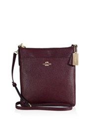 Coach Courier Grosgrain Leather Crossbody Bag Pink Oxblood