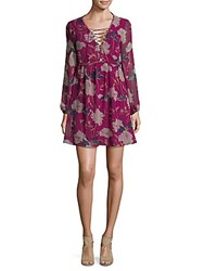 Ella Moss Floral Print Georgette Dress Boysenberry