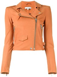 Iro Cropped Biker Jacket Yellow And Orange
