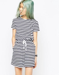 Asos Stripe Casual Playsuit With Tie Multi