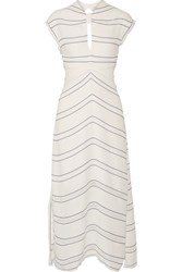 Proenza Schouler Tie Back Cutout Striped Crepe Midi Dress Ivory