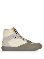 Balenciaga Cracked Leather High Top Trainers Grey