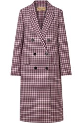 Burberry Checked Cotton Blend Coat Burgundy Gbp