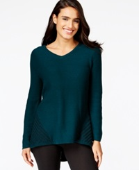 Style And Co. Petite Contrast Knit V Neck Sweater Only At Macy's Evergreen Black
