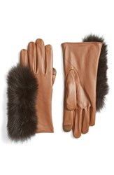 Echo Women's Touchscreen Compatible Gloves With Genuine Fox Fur Trim Saddle