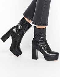 Truffle Collection Trudy Platform Heeled Ankle Boots Black