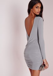 Missguided Slinky Drape Back Ruched Bodycon Dress Ice Grey