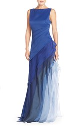 Women's Halston Heritage Asymmetrical Satin And Voile A Line Gown