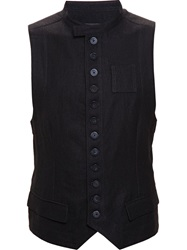 Ann Demeulemeester Wool Blend Military Waistcoat Black