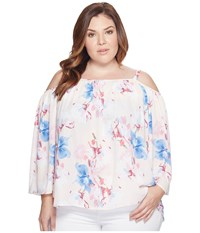 Vince Camuto Specialty Size Plus Poetic Bouquet Cold Shoulder Blouse Pink Mimosa Women's Blouse White