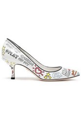 Dolce And Gabbana Woman Printed Leather Pumps White