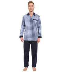 Jockey Broadcloth Pajama Set Navy Plaid Men's Pajama Sets Blue